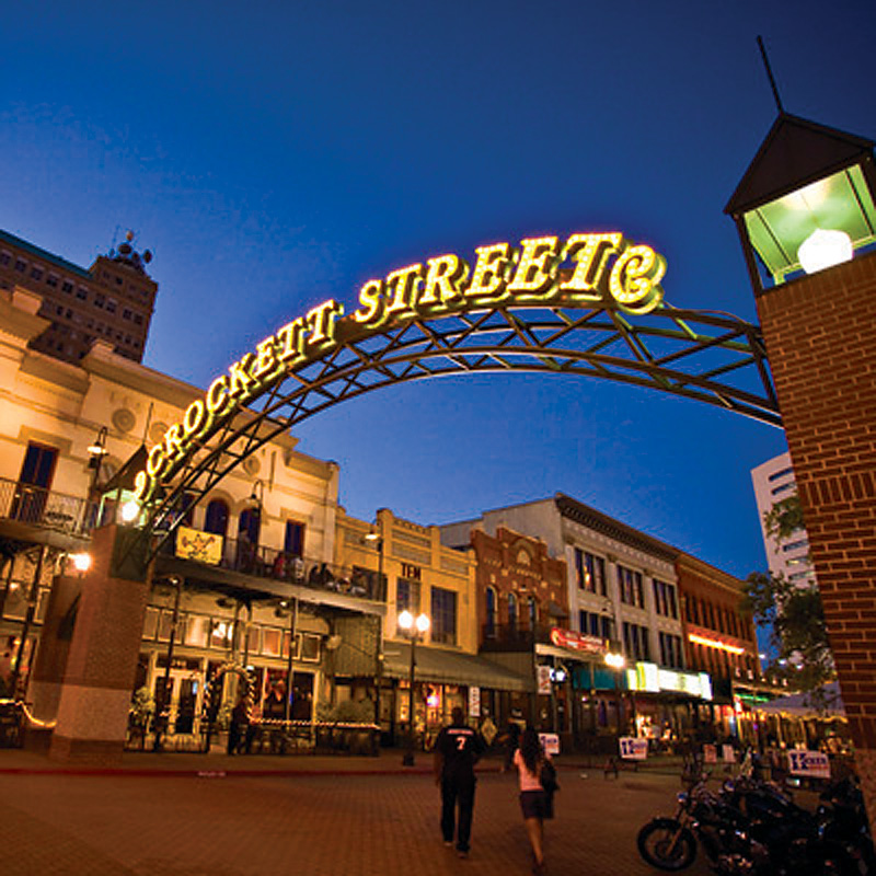 Crockett Street Entertainment District in downtown Beaumont, Texas